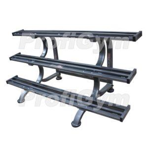 СТ3-1800-K Стеллаж для профессиональных гантелей трехрядный на 12 пар