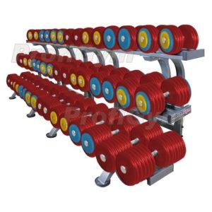 Обрезиненный цветной гантельный ряд «PROFIGYM» от 11 до 61 кг с шагом 2.5 кг