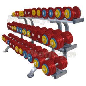 Обрезиненный цветной гантельный ряд «PROFIGYM» 6 до 41 кг с шагом 2.5 кг