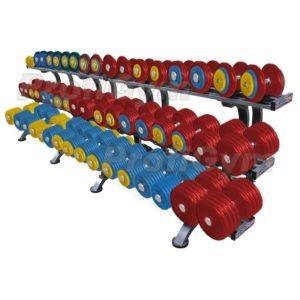 Обрезиненный цветной гантельный ряд «PROFIGYM» от 11 до 71 кг с шагом 2.5 кг