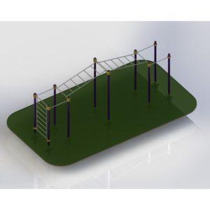 ТВ-018 Уличный спортивный комплекс шведская стенка + турник+ рукоход+ гимнастические кольца